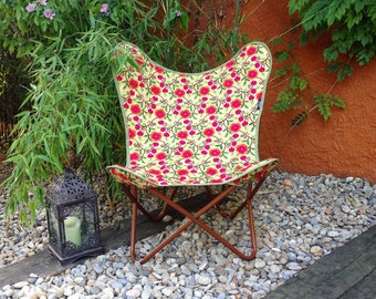 Boho chair - Vintage style chair - cover made with embroidered fabrics with flowers