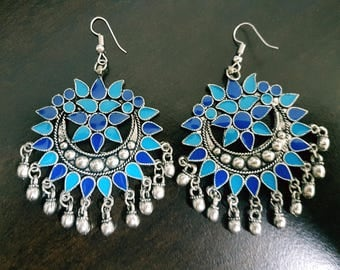Blue and Navy Blue Enamel Silver oxidised long chandelier chandbalis party festive wear