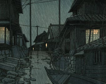 "Japanese Art Print ""Night Rain at Kawarako, Ibaragi Prefecture"" by Kawase Hasui, woodblock print reproduction, asian art, rainy night, storm"