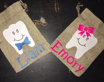 Toothfairy tooth keepers, tooth, burlap, bag, toothfairy, teeth