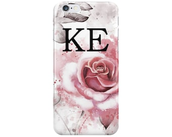 Personalised initials Pink Rose Floral Summer Phone Case for Apple iPhone 5 6 6s 7 8 Plus & Samsung Galaxy Personalized Customized Monogram