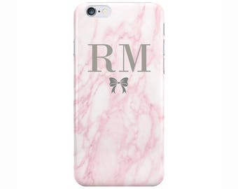 Personalised Name initials Pink Marble with Bow Phone Case Cover for Apple iPhone 5 6 6s 7 8 Plus & Samsung Galaxy Customized Monogram