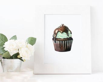 Mint Chocolate Cupcake Drawing Print - Wall Art - Food Art