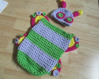 Crochet Baby Butterfly Caterpillar Photo Prop Costume Photo Prop Newborn to 12 Months Custom Orders Available