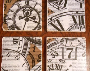 Coasters Clock Works Roman Numeral Time Stone Gifts Cup Holders Barware Drinks Home Decor Furniture Protect