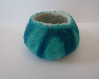 Blue Felted bowl, pot, handmade, unique, ornament, perfect gift