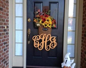 Painted Wooden Monogram, Wreath, Monogram Wreath, Hanging Monogram, Door Monogram, Wall Decor, Wedding Decor,  Front Door Monogram, Wreath