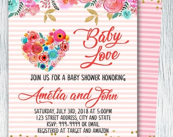 Valentine Baby Shower Invitation. Little Sweetheart Baby Shower Invitation. February. Floral Pink, Heart, Baby Shower Invitation
