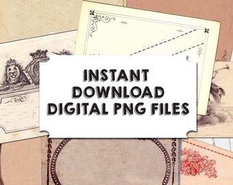 INSTANT DOWNLOAD Label Ephemera, Old Labels, Vintage Labels, Blank Labels, PNG Files, Transparent, 0305