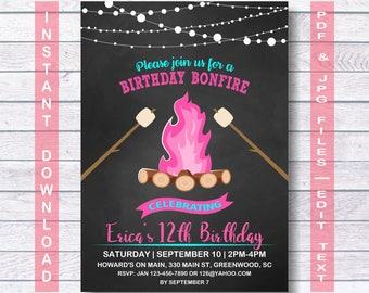 glam bonfire invitation glam bonfire party invitation instant download bonfire birthday - Bonfire Party Invitations