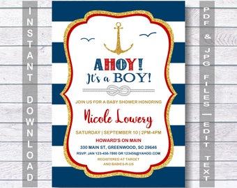 Nautical Baby Shower Invitation, AHOY! IT'S A BOY! Anchor Baby Shower Invitation,  Gold Glitter, Nautical Baby Shower, red, blue, nautical