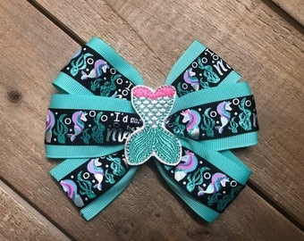 Mermaid Unicorn Hair Bow - Hair Bow - Mermicorn Hair Bow
