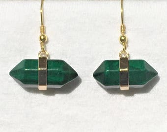 Malachite bullet shaped horizontal earrings