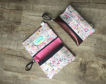 Leather pink blooming flowers Diaper clutch