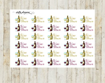 Wine Down Planner Stickers by Pretty Planning! Colorful and fun stickers ideal for planning your life!