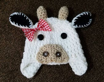 Crochet Cow Hat Beanie Sizes 0 to 3 months to Child