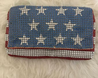 Vintage Red White & Blue Flag Chain Mail Clutch Purse