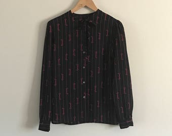 Vintage Givenchy Signature  Tie-Neck Shirt