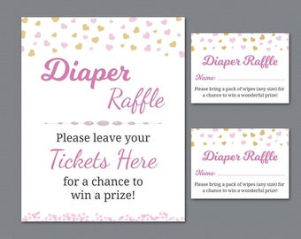 Diapers Raffle Ticket and Sign Printable, Girl Baby Shower Activities, Instant Download, Pink Gold Hearts Confetti, Raffle Cards, B003