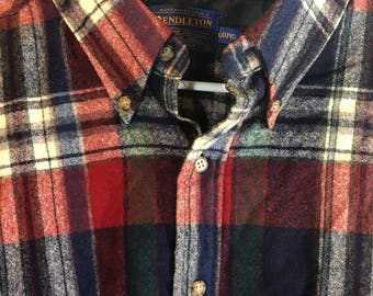 Vintage Pendleton 100% Wool Flannel Button Down Shirt Blue Green Red Long Large