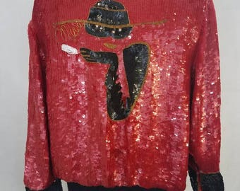 Vintage Sequin and Beaded Novelty Bomber Jacket