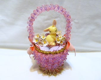 Vintage Easter Panorama Ornament Jeweled Bead Sequin Bunny Egg Basket Finished Walco Lee Ward Kit Diorama Forget-me-nots Completed Pink