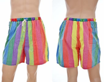 vintage Beach / Surf SHORTS  Basic System-Fade Out / mens size XL / James Dean smoking / 80s 90s rainbow colors / striped /