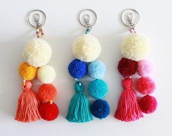 Pom Pom Keychain, Tassel Keychain, Pom Pom Bag Charm, Boho Keychain, Pom Pom Key Chain, Orange Blue Pink, Tassel Pom Pom Bag Charm
