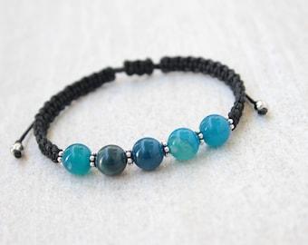 Blue Agate Bracelet Healing Bracelet Best Friend Bracelet Jewelry Gift for Women Wife Small Gifts Agate Beads Bracelet Blue Stone Bracelet