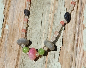 Watermelon Quartz and Dragon Egg Agate Necklace & Earring Set