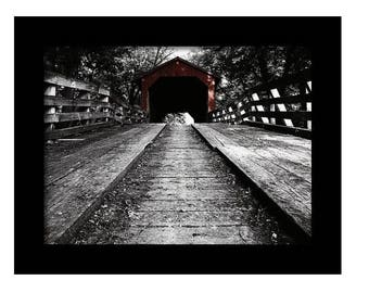 Sugar Creek Covered Bridge Selective Color Fine Art Photographic Print