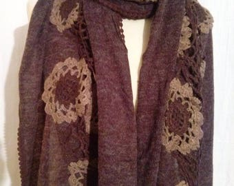 Cotton, acrylic scarf and Brown crochet