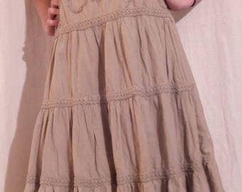 Khaki color cotton summer dress