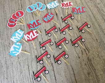 Little Red Wagon Cupcake Toppers / First Birthday Cupcake Toppers / Happy Birthday Cupcake Toppers