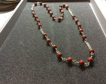 Necklace red jasper,