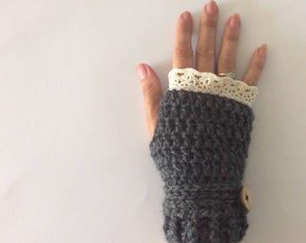 Crochet wool fingerless gloves with lace hem