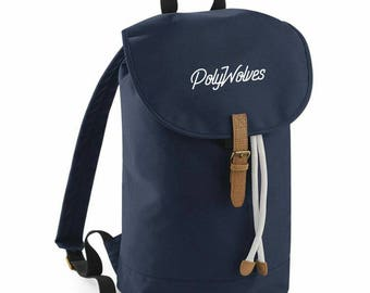 Old School Duffle Bag backpack With Vintage Look And Drawstrings available in grey, green, blue and black