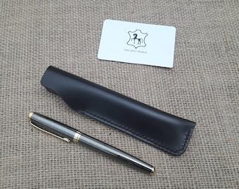 Leather Pen Case. Fountain Pen Case In Hand Stitched Dark Brown Leather pen case leather