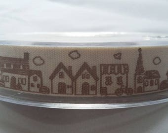 town village printed ribbon 15mm