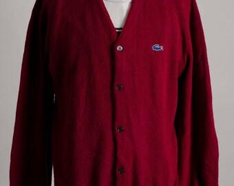 Vintage 1980's IZOD LACOSTE Red Knit Cardigan Sweater Size XL