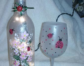 Lighted Wine Bottle - Hand Painted Flowers and Lady Bugs