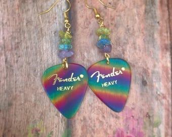 Fender Guitar Picks. Colorful Earrings. Rainbow Earrings.