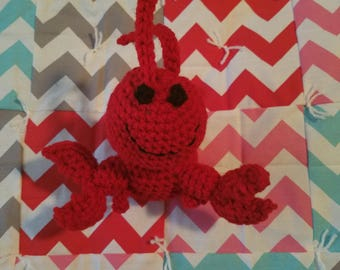 Multi-color chevron blanket with lobster buddy
