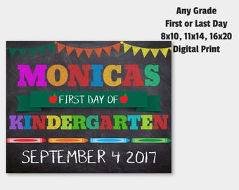 Last Day of School Sign, First Day Of School, Back To School Sign, Digital Chalkboard Sign, Chalk Board Sign, Kindergarten, Digital File