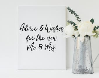 Black Wedding Advice Sign, Advice and Wishes Sign, Guestbook Sign, Printable Sign, Wedding Sign, Typography Sign, Instant Download, Wedding