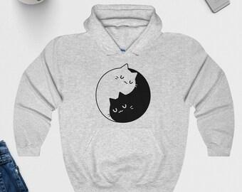 Yin Yang Cats Hoodie / Hoody - Cute Top - Funny, Cat Lovers, Peace - Graphic Hoodie - Unisex, Mens, Ladies - S M L XL - Black, White or Grey