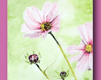 Watercolor of a flower butinée by a bee