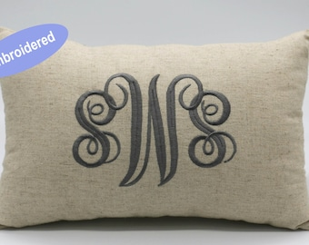 Pillow Covers Embroidered Monogrammed Personalized Rustic Lumbar Throw Pillowcase Gifts for Wedding,Housewarming,Couple,Nursery