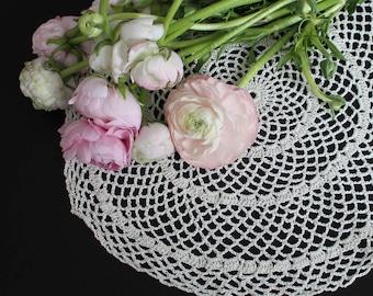Vintage crochet doily, 100% cotton, cream colour