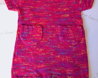 Hand knitted tunic dress for todler great with leggings